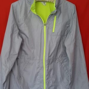 Danskin Now Silver and Neon Zip Up Jacket Size M